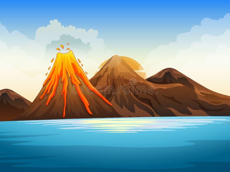 Erupción del volcán por el lago ilustración del vector