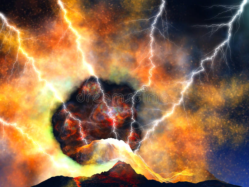 erupci wulkanu potomstwa ilustracja wektor