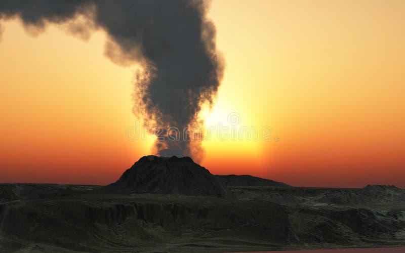 erupcja wulkan ilustracji