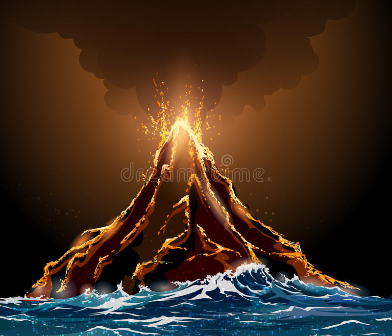 erupcja wulkanicznej ilustracja wektor