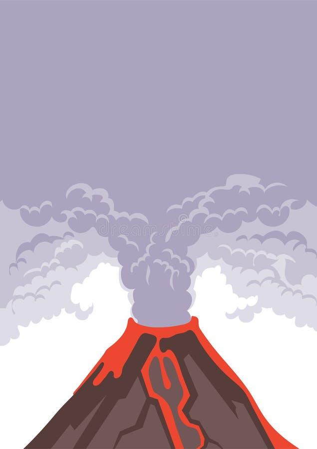 Erupcja wulkanu, dymnego i powulkanicznego popiół w niebo, Gorący lawowi przepływy zestrzelają zbocze góry wektor ilustracja wektor