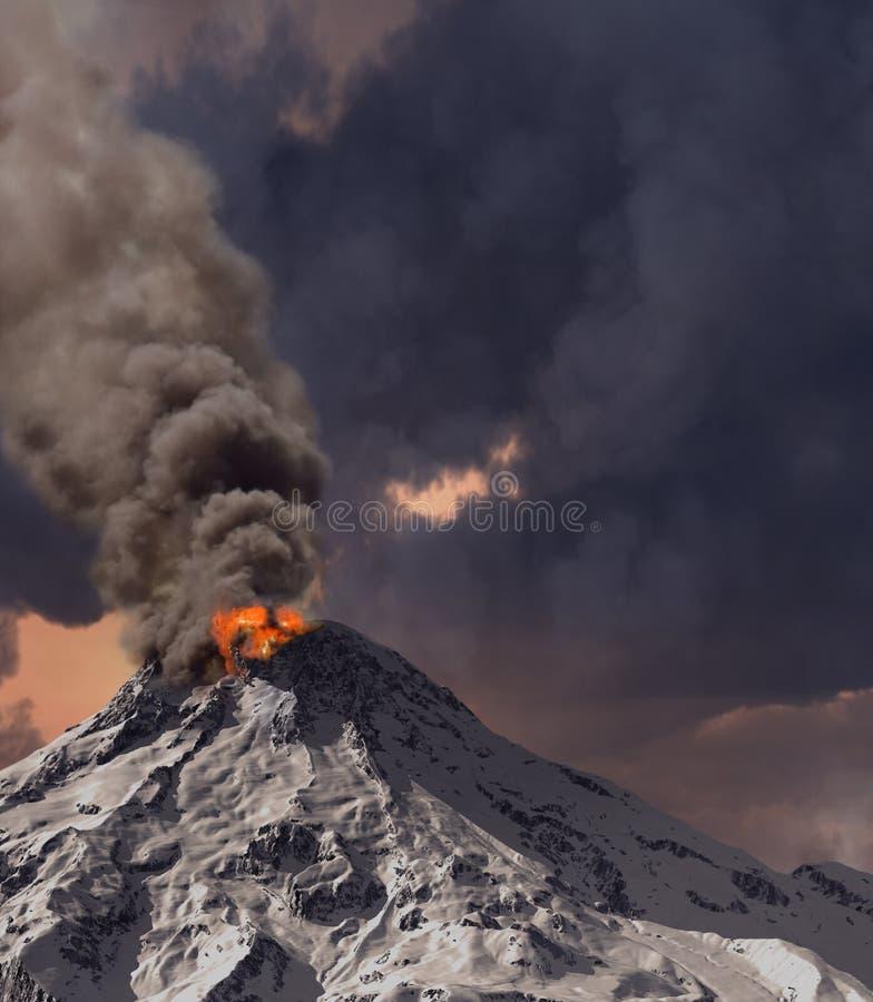 Erupting of volcano. (3D rendering