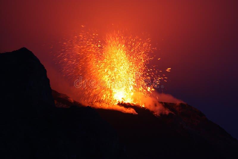 Erupting volcano Stromboli stock images