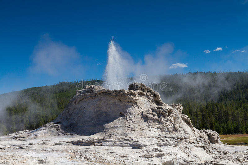 Eruption of Castle Geyser royalty free stock photography