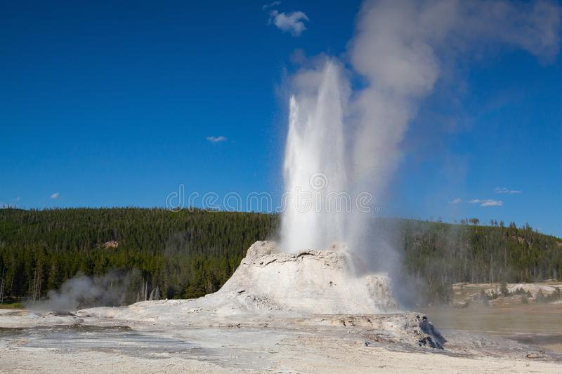 The eruption in Castle Geyser in Yellowstone NP, USA stock photo