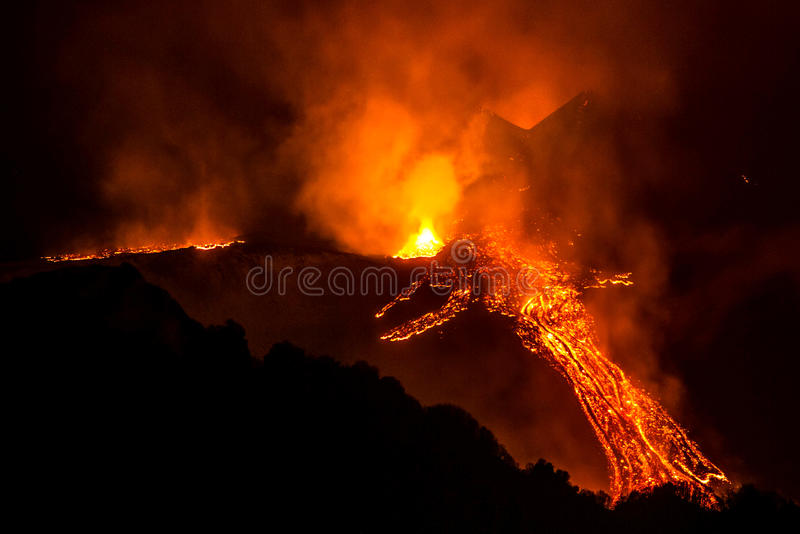 Eruption etna royalty free stock photography