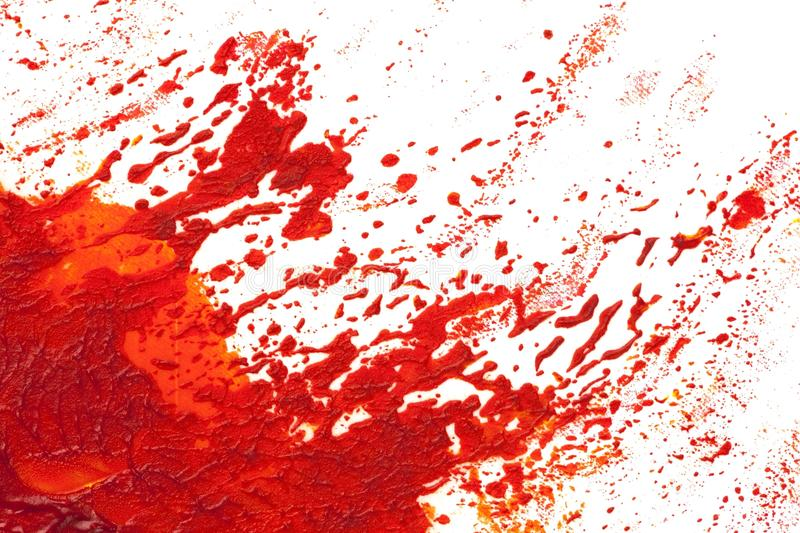 Eruption or explosion in red paint. Isolated on white vector illustration