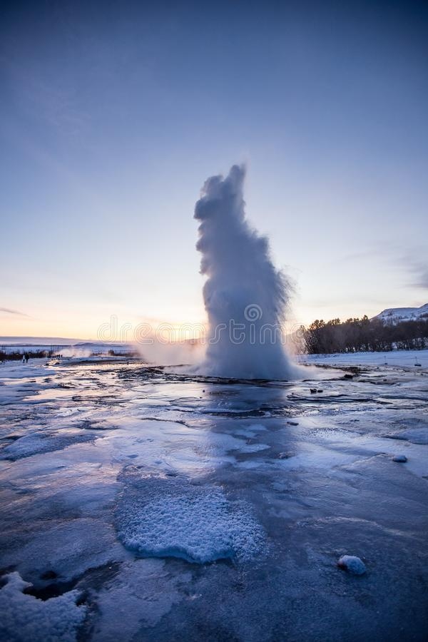 Eruption of famous Strokkur geyser in Iceland. stock photo