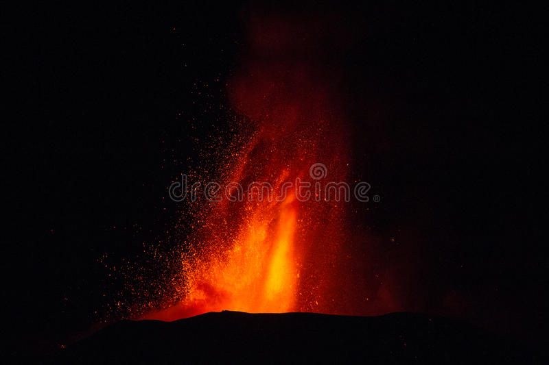 Eruption of Mount Etna. Explosion with ash emission and lava flow royalty free stock photos