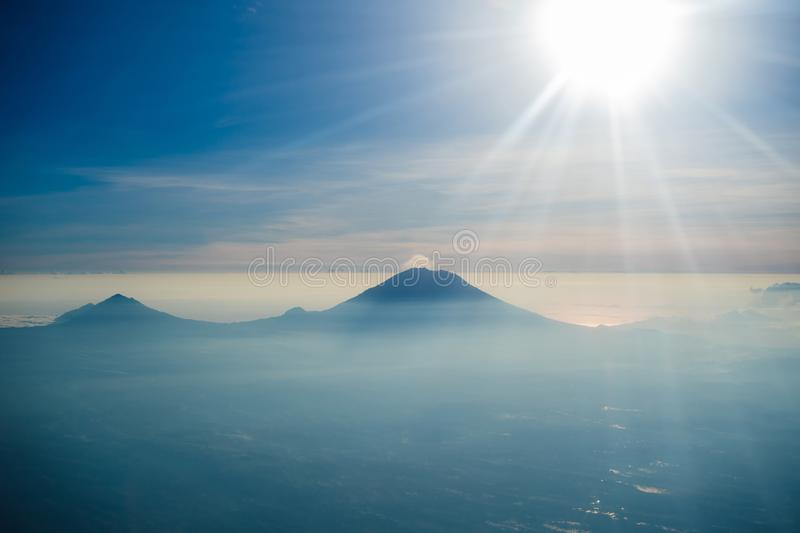 Eruption of volcano Agung in Bali Indonesia stock image