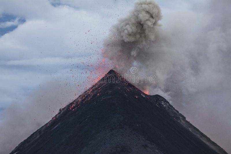 Eruption of Volcano during Dawn royalty free stock images