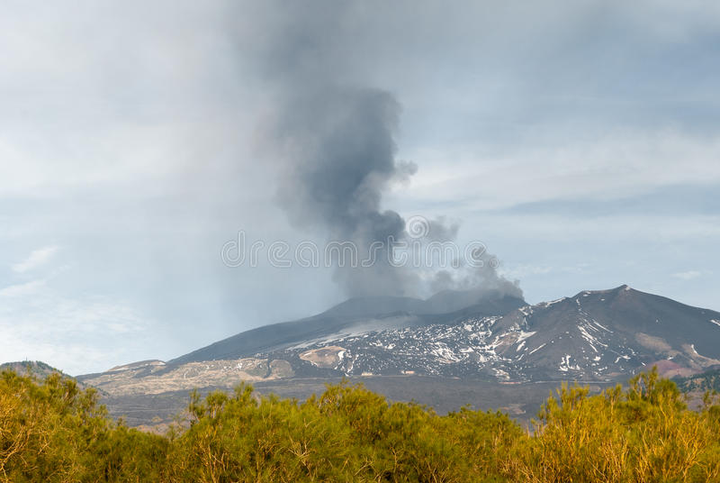 Eruption on volcano Etna. With ash emission on 4 December 2015 stock photography
