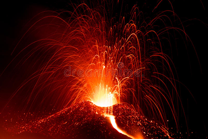 Eruption of volcano etna in sicily royalty free stock photography