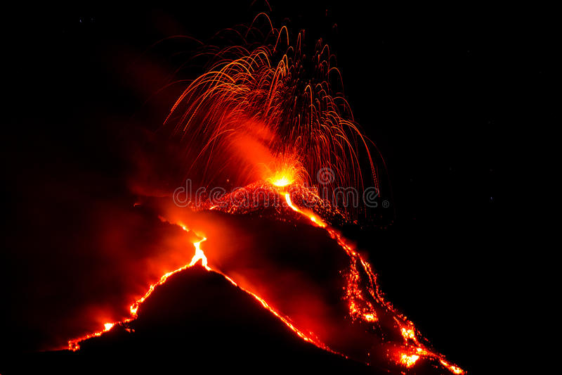 Eruption of volcano etna in sicily stock photography