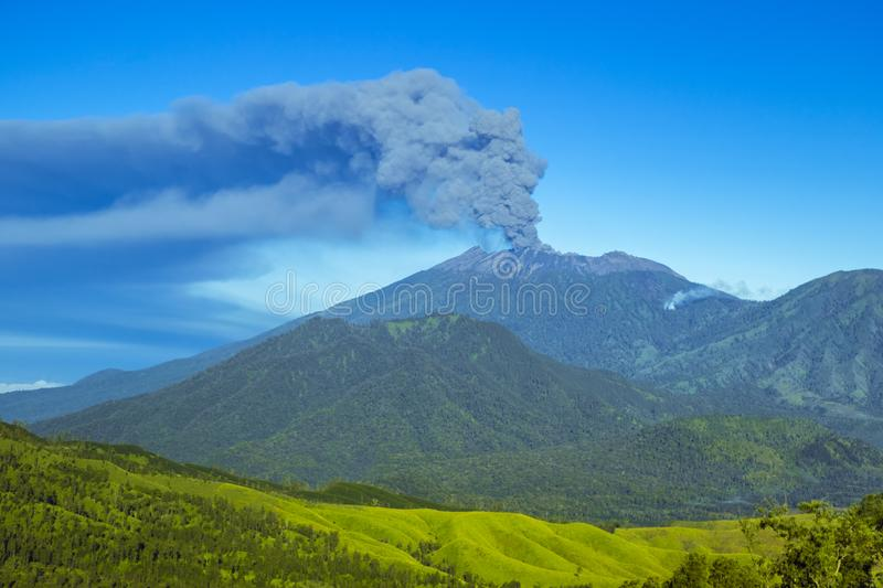 Eruption volcano and smoke emissions on the Gunung Agung, Bali, Indonesia. Eruption volcano and smoke emissions on the Gunung Agung, Bali royalty free stock image