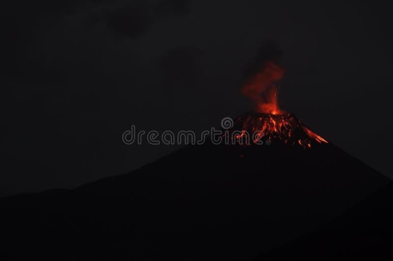 Eruption of a volcano Tungurahua stock photos