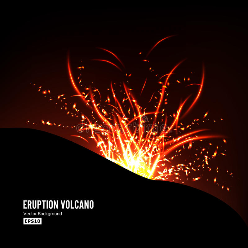 Eruption Volcano Vector. Thunderstorm Sparks. Big And Heavy Explosion From The Mountain. Spewing Glowing Red Hot Lava. royalty free illustration