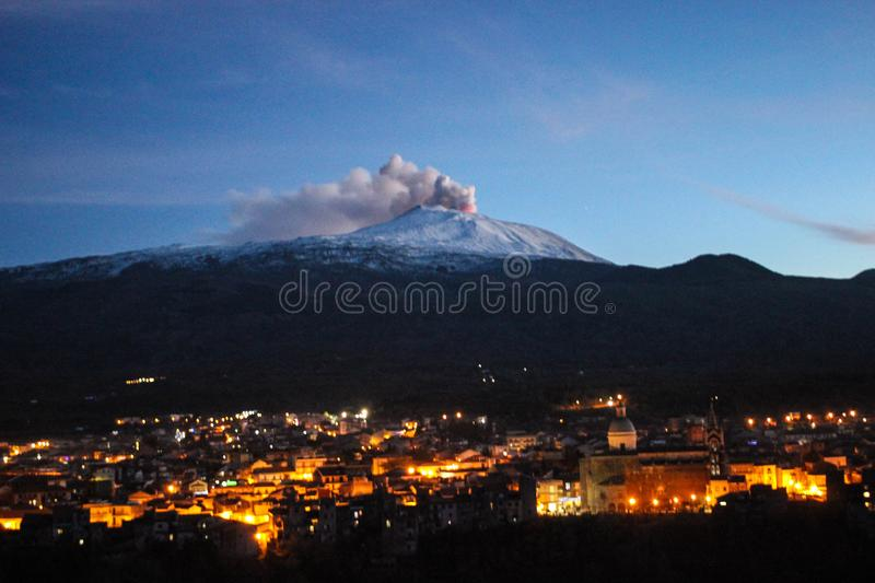Eruption of vulcano Etna royalty free stock image