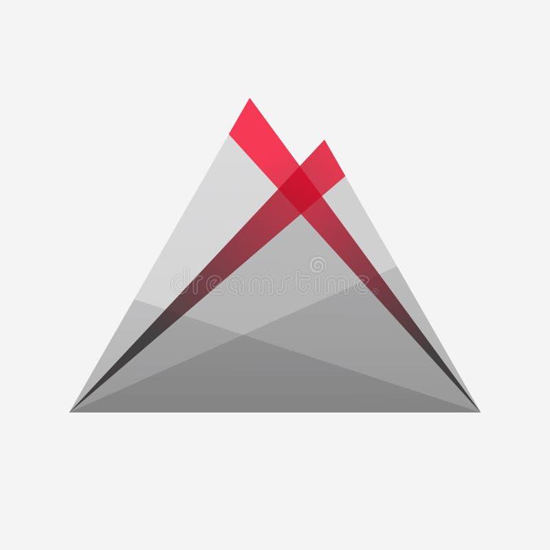 eruption vulkan lava Graue, rote Steigung ikone firmenzeichen lizenzfreie abbildung