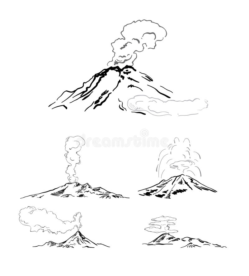 Download Eruptions stock vector. Illustration of white, mountain - 14436957