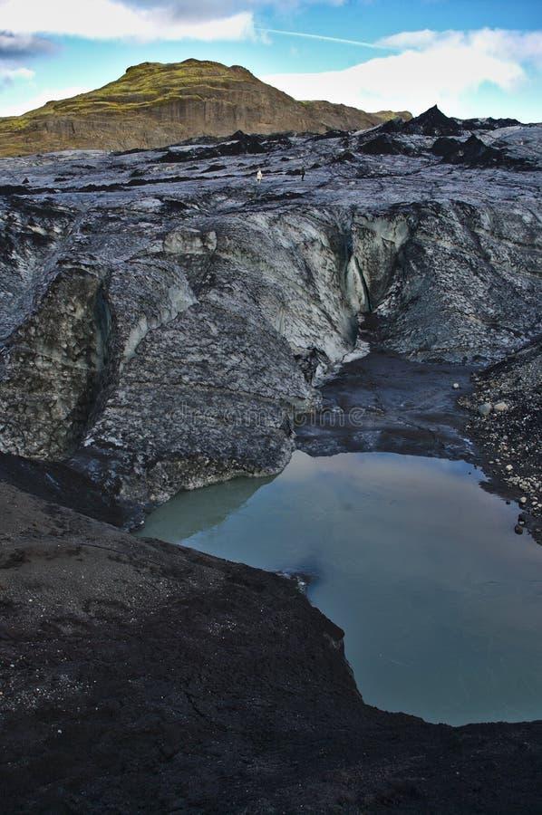 Eyjafjalla jokull. Ice covered with ash, Iceland. The 2010 eruptions of Eyjafjallajökull were volcanic events at Eyjafjallajökull in Iceland. It caused stock photo