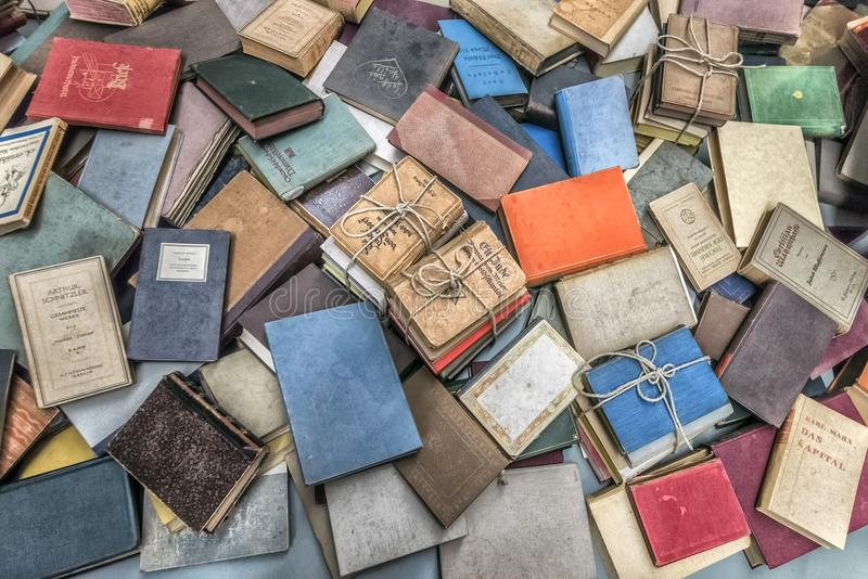 Erusalem Israel September 14, 2017. holocaust museum inside. The books that the deported people had with them when they were trans. Jerusalem Israel September 14 stock images