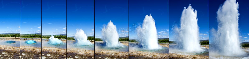 Eruzione del geyser di Strokkur nell'ordine immagine stock