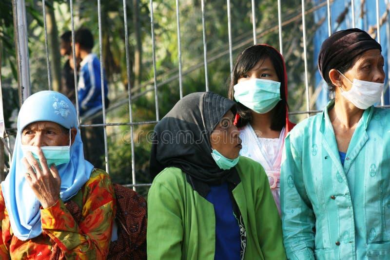 Eruzione del monte Merapi immagine stock