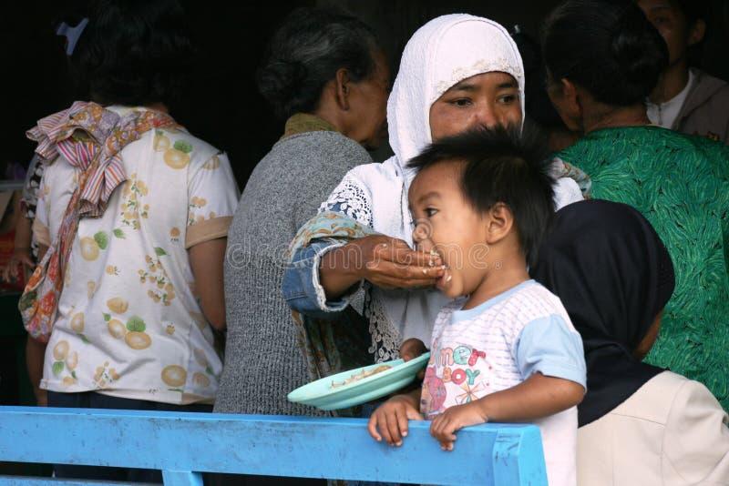 Eruzione del monte Merapi fotografie stock libere da diritti