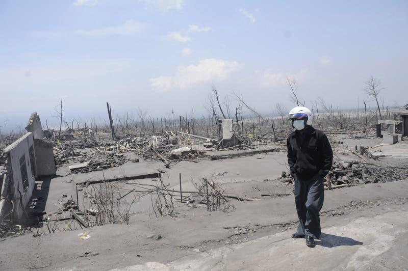 Eruzione del monte Merapi fotografia stock libera da diritti