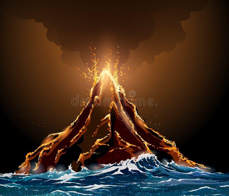 Eruzione vulcanica illustrazione vettoriale