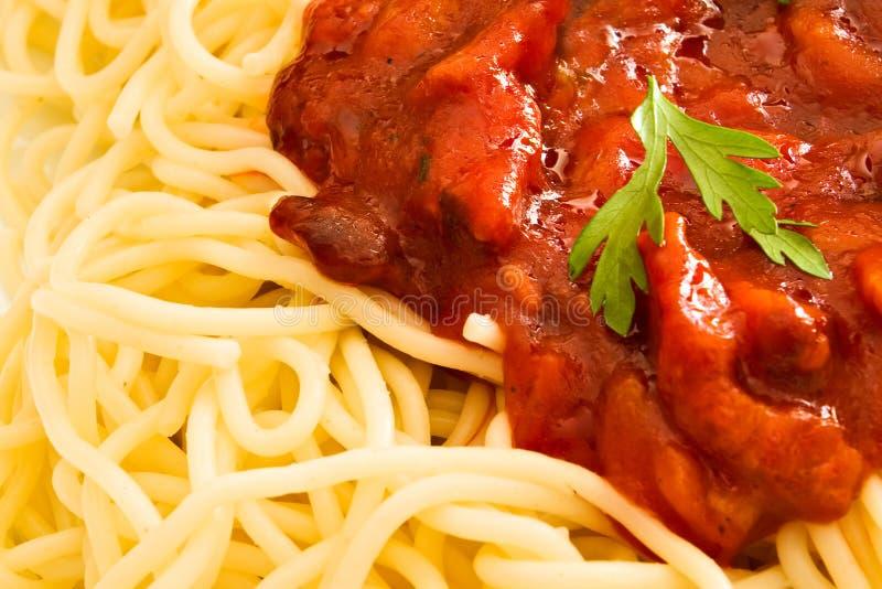 Erva da salsa no espaguete com imagens de stock