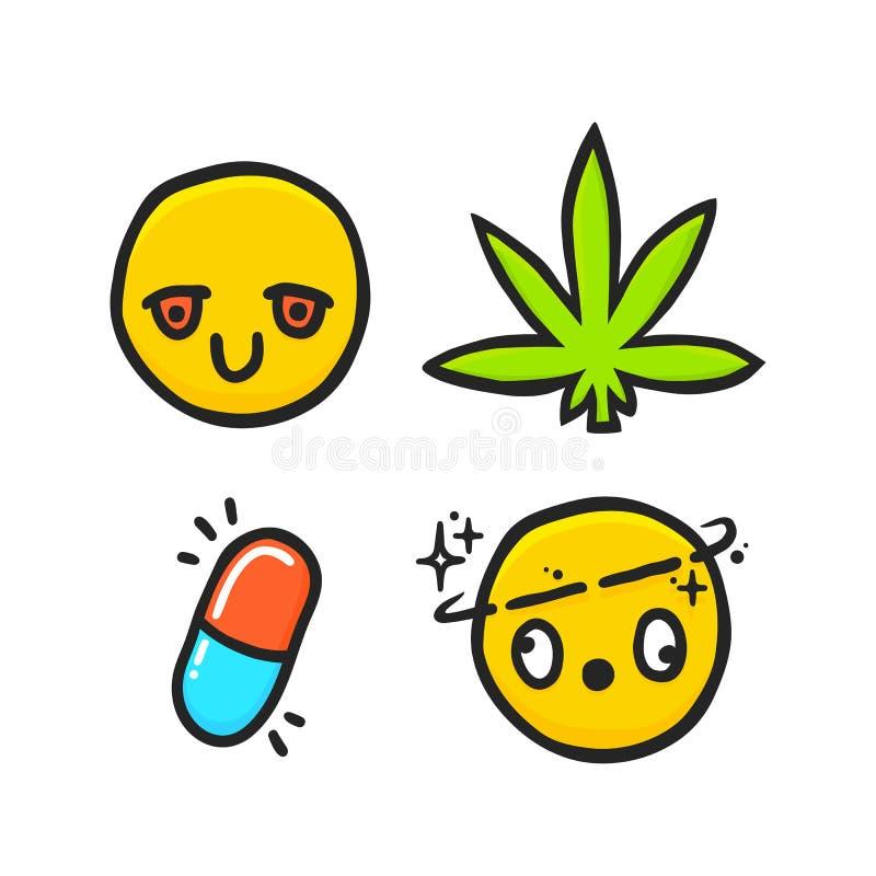 Erva daninha dos desenhos animados e grupo do vetor do emoji das emoções das drogas ilustração royalty free