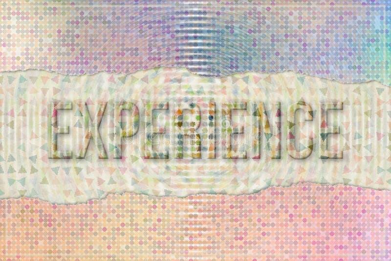 Ervaring, reis & vakantie conceptuele woorden met abstract overlappend vormpatroon als achtergrond vector illustratie