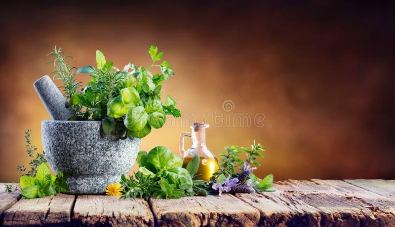 Ervas aromáticas com almofariz - especiarias frescas fotografia de stock