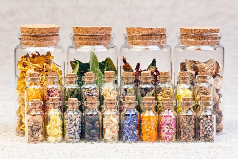 Ervas curas e tinturas em umas garrafas no pano de saco, flowe secado fotos de stock