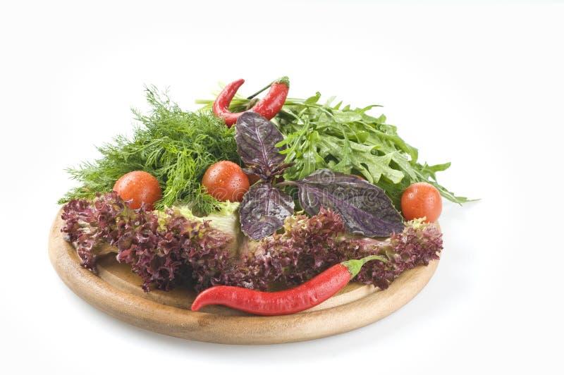 Ervas e vegetais crus frescos foto de stock