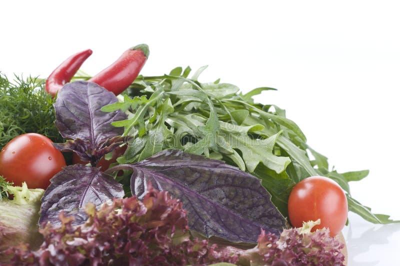 Ervas e vegetais crus frescos no branco fotos de stock