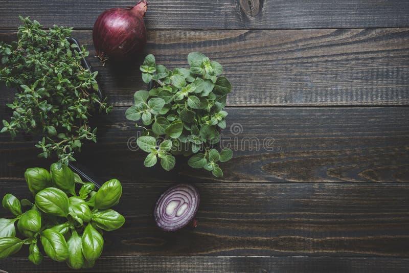 Ervas frescas com a cebola vermelha no fundo de madeira com espaço da cópia fotografia de stock