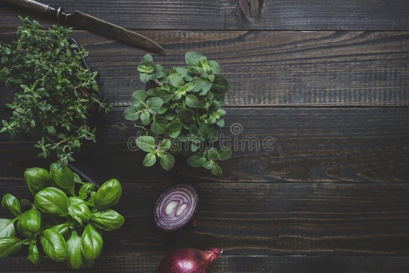 Ervas frescas com a cebola vermelha no fundo de madeira com espaço da cópia foto de stock royalty free