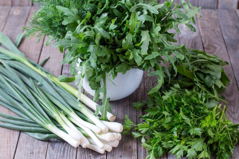 Ervas frescas do jardim sobre a tabela de madeira Verde: cebolas verdes, aneto e manjericão imagem de stock royalty free