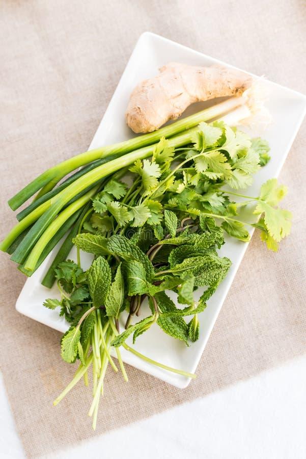 Ervas frescas para a sopa de Pho fotos de stock royalty free