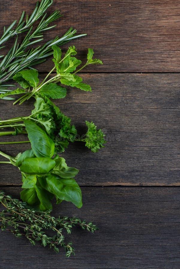 Ervas recentemente cliped no fundo de madeira fotografia de stock