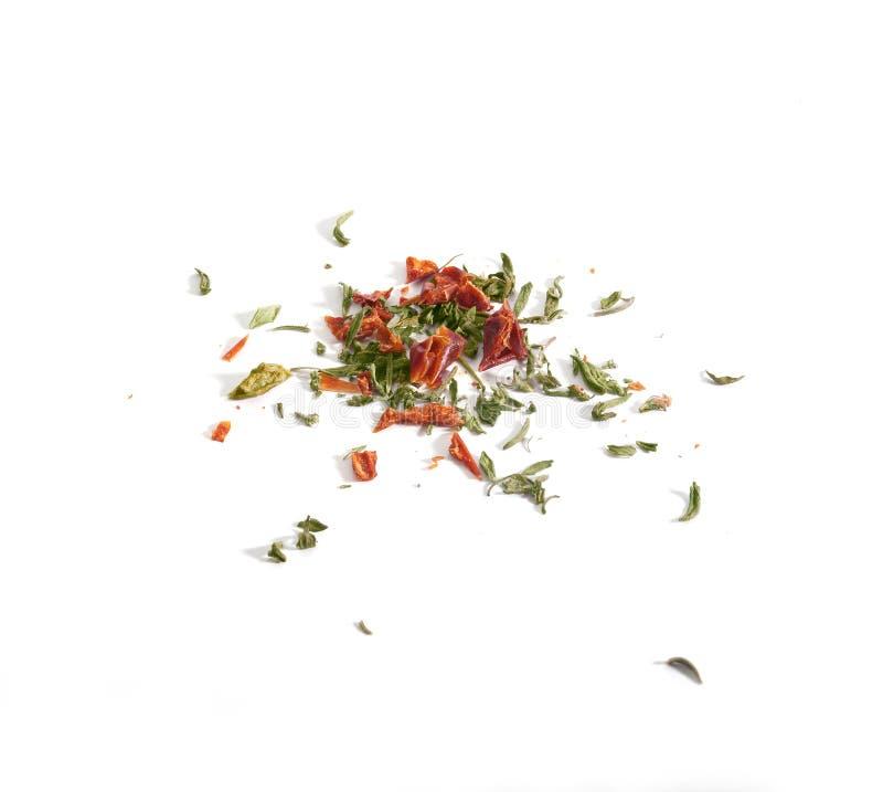 Ervas secadas no branco fotos de stock