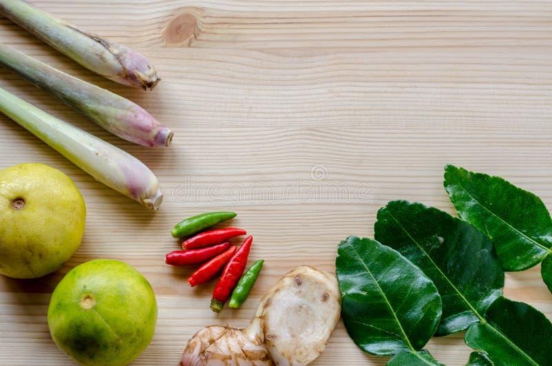 Ervas tailandesas, o principal os ingredientes do alimento tailandês fotografia de stock