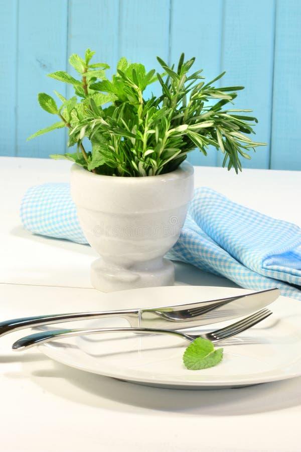 Ervas verdes frescas em uma tabela imagem de stock royalty free