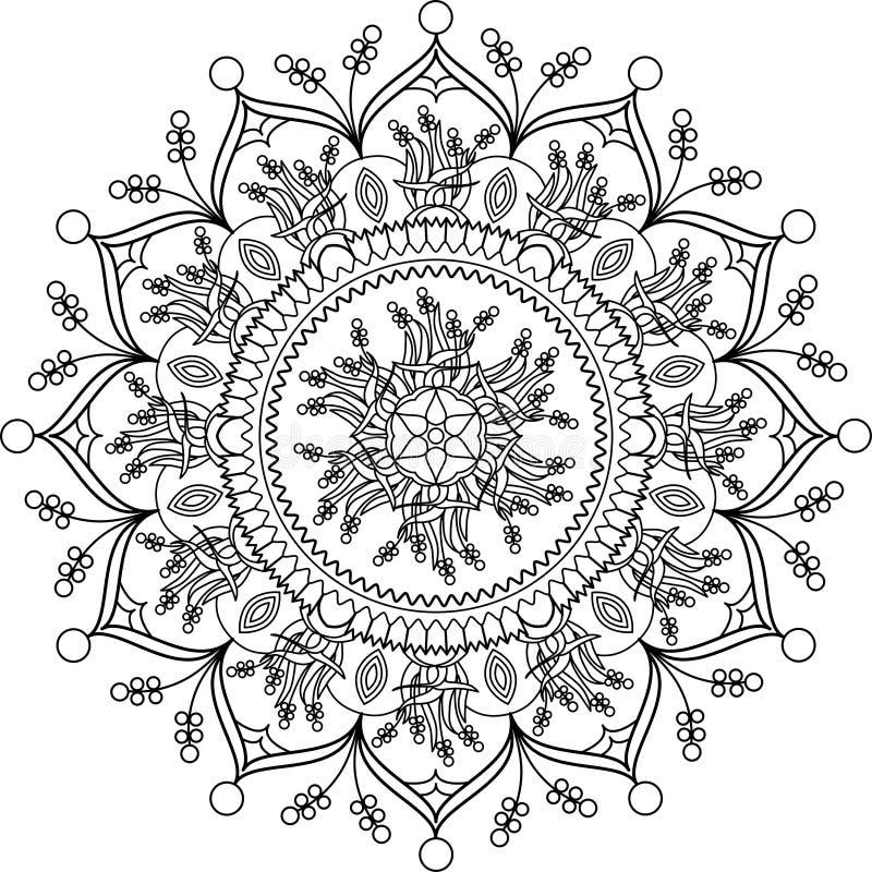 Erwachsene Farbtonseite, Mandala Mit Blumen Vektor Abbildung ...