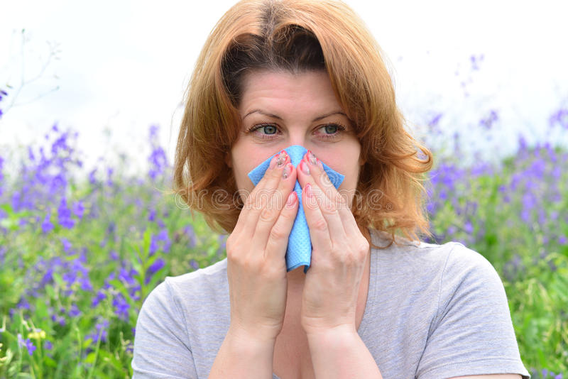 Erwachsene Frau mit Allergien auf der Wiese lizenzfreies stockbild