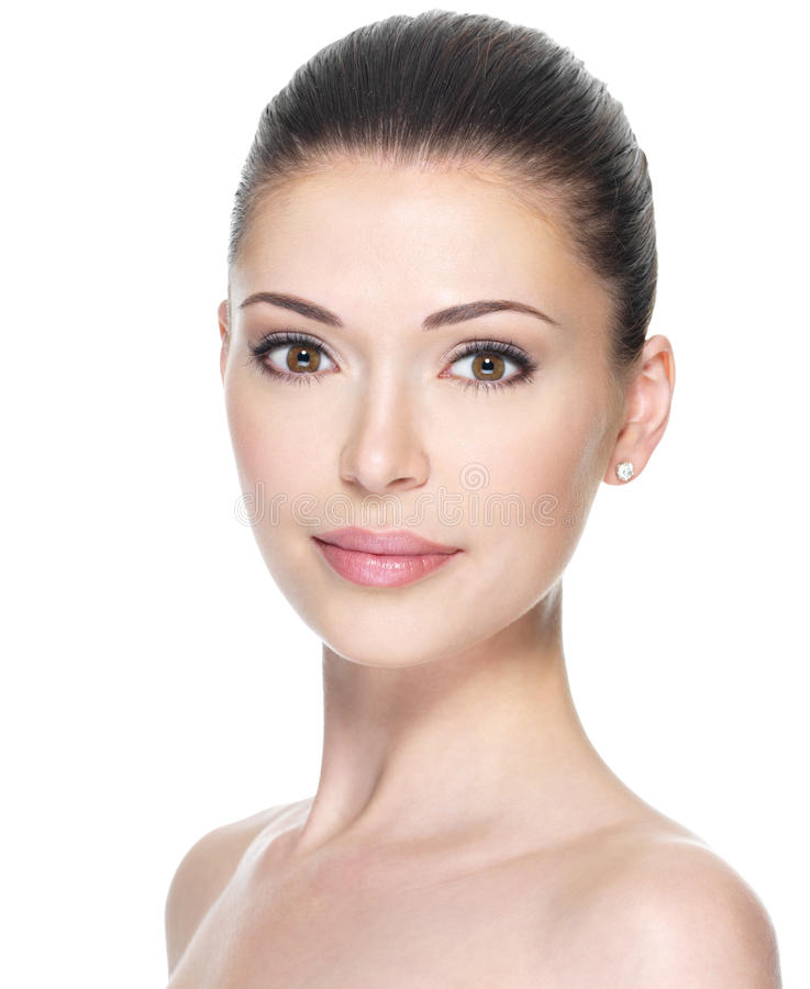 Erwachsene Frau mit schönem Gesicht stockbild