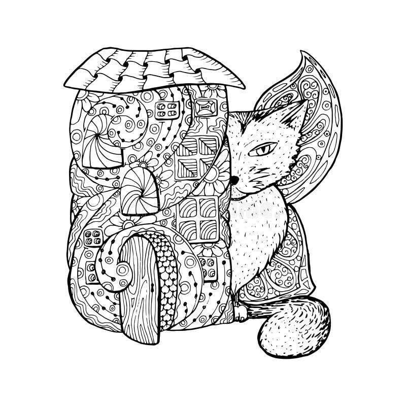 Erwachsene Malbuchseite Monofarbschwarz-Tintenillustration, Vektorkunst Feenhaftes Haus, große Katze mit Schmetterling beflügelt vektor abbildung